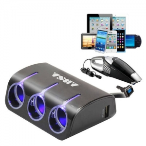 3 Socket Dual USB Car Charger - Promotional Products