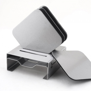 Stainless Steel Square Coaster Set With Stand - Promotional Products