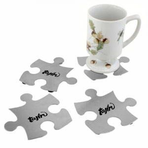 Stainless Steel Jigsaw Puzzle Coasters - Promotional Products