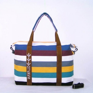 Ladies Strip Tote Shopping Handbag - Promotional Products