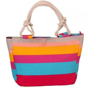 Flower Print Stripes Large Beach Bags - Promotional Products
