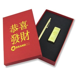 Gold Cross Pen with USB Set - Promotional Products